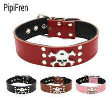 PipiFren Genuine leather Spiked Big Dogs Collars Supplies For Accessories Belt Large Dog Necklace Leather Pets Collar tasma(China)