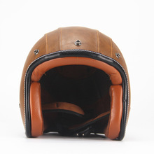 3/4Leather Open Face Half Harley Moto Motorcycle Helmet vintage Motorbike Vespa capacete Chopper Bike BLACK(China)
