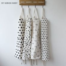 Cotton Cloth Kitchen Cooking Barbecue Pocket Apron Pinafore Thicken Black White Geometric pattern Ins Cleaning Baking Tool CZL