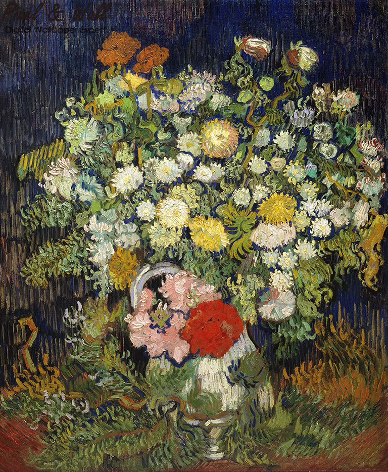 A bouquet of flowers in a van gogh bottle mural photo home accessories decoration living room decoration STDM30593 10