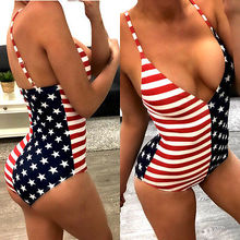 2017 Sexy Women Swimwear Flag Design Swimsuit Push Up Padded One-Piece Suit Bathing Bather Monokini Women Beachwear New Outwear