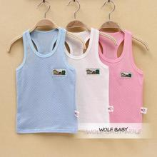 Retail 1-7years sleeveless vest T-shirt mesh baby kids children Clothing girls boys Clothes Infant Garment summer