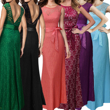 Women Long Sexy Slim Backless Maxi dress Fashion Elegant Formal Evening Party Dresses Long lace Dress Vestidos Plus Size