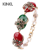 Charm Boho Bracelets Vintage Jewelry Colorful Resin Tibetan Alloy Color Gold Flowers Love Bracelet For Women 2017 New(China)