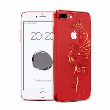 For Apple iPhone 7/ 7 Plus Case Gold/ Red/ Black Plated Clear PC Hard Back Cover With Crystals from Swarovski Rhinestone Cases