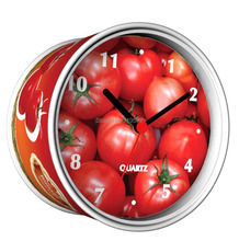 Factory Price Unit 4.99USD Only Tomato Design Kitchen Desk Table Can Clocks, Aluminum Cover Tin Gift Time Quartz Magnet Clocks