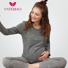 YATEMAO Winter Nursing Pajamas Women Clothes Set Cotton Pregnant Pajama Set Maternity Long Sleeve Tops&Pants Sleepwear Nightgown(China)