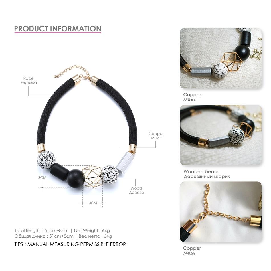 Black & White Wood Beads Minimalist Chokers Necklaces