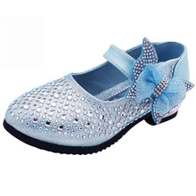 Bowtie Children's Shoes Crystal Shiny High Heels Princess Shoes Hot Sale New Girls Sandals Kids Shoes For Girl Child Footwear(China)