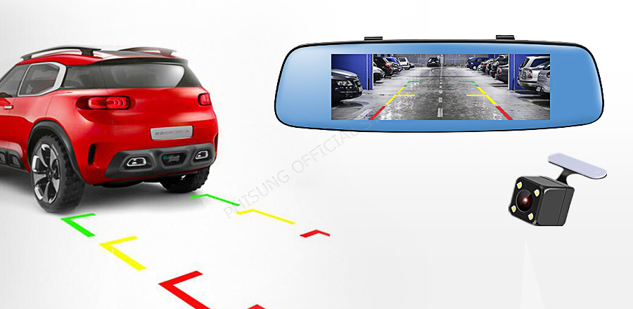 "Phisung E06 4G Car DVR 7.84"" Touch ADAS Remote Monitor Rear view mirror with DVR and camera Android Dual lens 1080P WIFI dashcam 10"