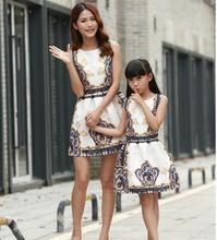 Mom and Daughter summer Dress New 2016 Fashion Retro printing dress,mom and daughter princess dress,free shipping,in stock(China)