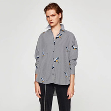 G0906F15 autumn new Europe and the United States with 5303 # crane embroidery striped shirt(China)