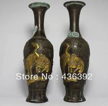 Pair vases Bronze Crane carves Chinese ancient Exquisite Old(China)