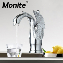 Durable Solid Brass Bathroom Faucet Basin Faucet Single Hole torneira 9810-2 Modern Swan Design Mixer Taps(China)