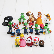 500sets/lot Super Mario Bros PVC Figure topper Super Mario nds Luigi Peach yoshi DHL free shipping 18pcs/set(China)