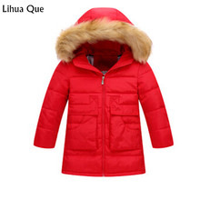 2017 autumn and winter new children's down jacket in the long section of the girl's hair collar hooded thick Girls Winter Coat