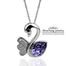 ZHOUYANG N353 Purple Swan Necklace Silver Color Fashion Jewelry Nickel Free Pendant Austria Crystal Elements