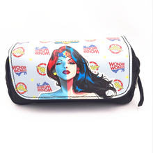 hand-held design portable Wonder Woman make up case kids harry potter hangbag double zip pen bags gripesack(China)