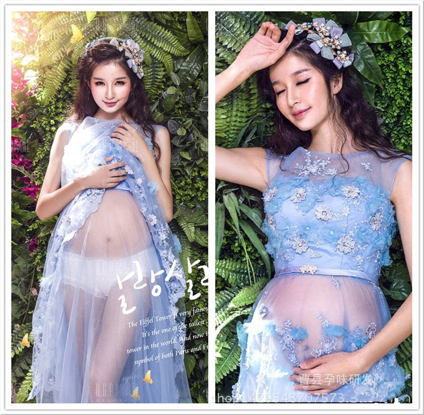 Maternity Maxi dress Maternity Photography Props Lace Dress Off Shoulders Fairy Trailing Pregnant Dresses Pregnancy Photo Shoot<br>