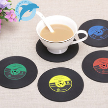 4Pcs/set Retro Vinyl Drinks Coasters Table Cup Mat Home Creative Decor CD Record Coffee Drink Placemat Tableware Spinning(China)