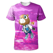 Real American size  kanye west purple bear 3D Sublimatin print  high quality T-shirt Custom Made Clothing plus size