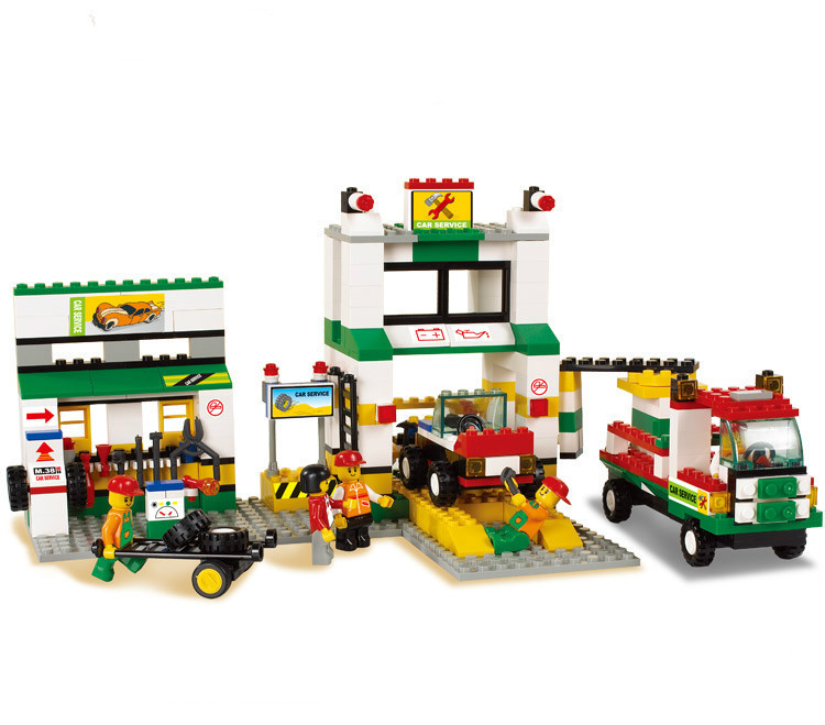 Sluban City Series Simulation City Car Repair Station Construction Plastic Model Building Block Bricks Set Compatible With Legoe<br>