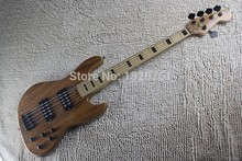 Top Quality flame maple Burlywood with active pickup system quality earth logo electric bass guitar 140412(China)