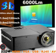 6000ANSI 10000:1  High Brightness data show 3D Movie HDMI USB RJ45 Education Advertising Rear Film 1080P HD DLP Beamer Projector