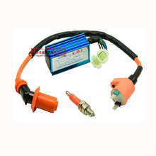Performance Racking Round Ac Fired 6 Pins CDI+ Ignition Coil + 3 Elecrode Spark Plug For Gy6 50cc 125cc 150cc