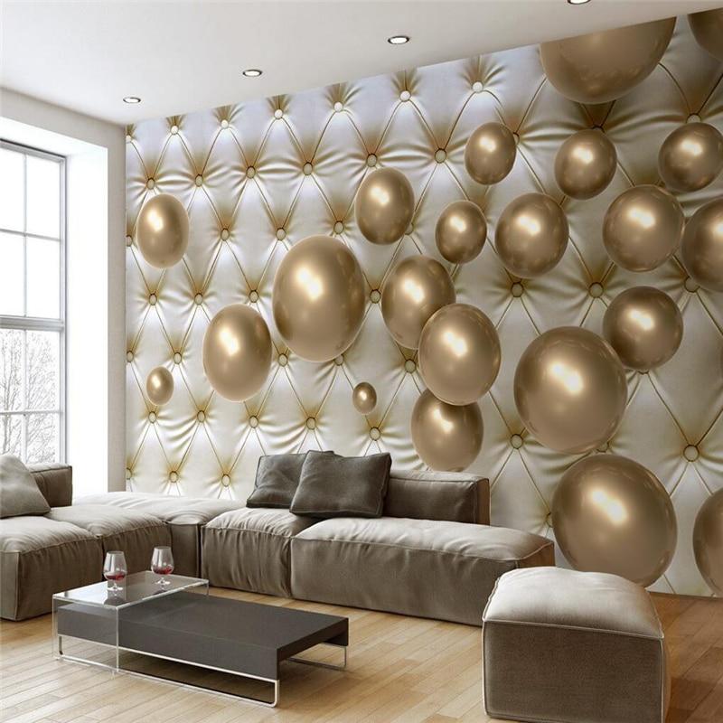 Mural 3D Living Room Golden Ball Soft Pack Wall paper Bedroom Modern Background Custom 3d Wallpaper Mural papel de parede photo<br><br>Aliexpress