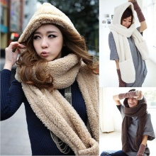 High quality Female Winter Warm Soft Plush Faux Fur Hooded Cap Hat Scarves Scarf Gloves A Nice Gift For Woman Girl(China)