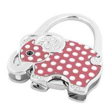 White Dots Print Elephant Decor Foldable Purse Handbag Hook bag holder Decoration for Lady
