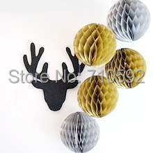 Metallic Gold&Silver 15cm 5pcs Tissue Paper Honeycomb Balls Decorative Hanging Ball Honeycomb Pom Poms Showers Weddings Party