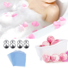 Behokic 8PCS DIY Bath Bomb Ball Shape Molds Aluminum Alloy Balls DIY Homemade Bath Tool Accessory w/ 300Pcs Hot Shrink Wrap Bags