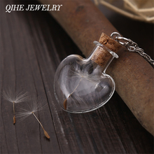 QIHE JEWELRY Wish Bottle Necklace Heart Pendant Lucky Necklace Men Women Jewelry With Real Dandelion Flower Christmas Gift Party