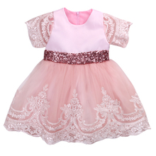 Baby Girls Formal Princess Dress 2017 New Clothes Short Sleeve Lace Bow Ball Gown Tutu Party Dress Toddler Kids Fancy Dress 0-7Y(China)