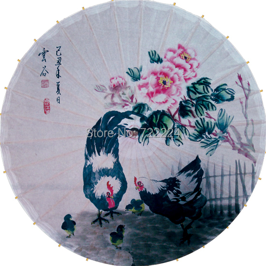 Free shipping dia 84cm chinese elegant paining oiled paper umbrella waterproof parasol decorative props dance umbrella<br>