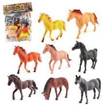 Simulated Farm Animal Horse Grassland Static Plastic Animals Model Toys for Child(China)