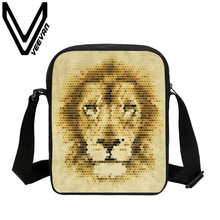 VEEVANV Brand 2017 Tiger Image Messenger Book Bag 3D Animal Prints Kids Small Children Crossbody Bag Travel Student Shoulder Bag
