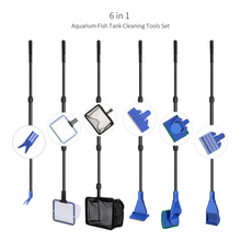 Aquarium Cleaner 6 in 1 Complete Aquarium Fish Tank Set Fish Net + Spoon Net + Rake + Scraper + Fork + Sponge Brush Tools Kit(China)