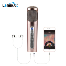 LANSHA Home Karaoke Condenser Microphone Professional Studio Mic USB Singing Video Recording Microphone for Smartphone PC Car(China)