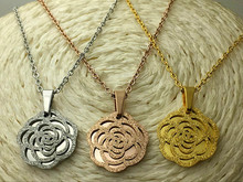 2017 Famous Brand Stainless Steel Rose Gold Color Love Hollow Frosted Camellia Flower Pendant Necklace Women Gift