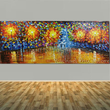 100% Hand Painted Rainy Night Lamp Landscape Home Decor Wall Art Picture Hand Made Palette Knife Oil Painting On Canvas No Frame(China)