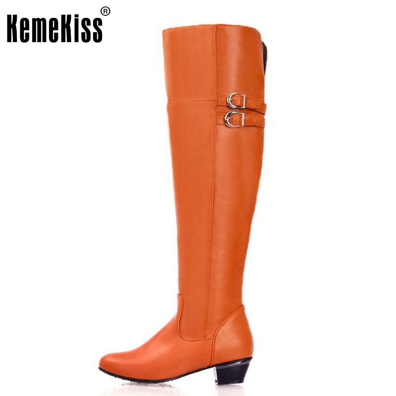 Free Shipping over knee half high heel boots women snow fashion winter warm boot footwear shoes P9982 EUR size 30-47<br><br>Aliexpress