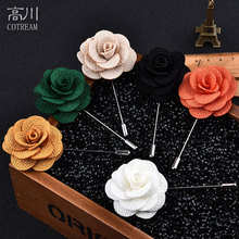 Wedding brooches for men lapel flower daisy handmade boutonniere sticks brooch pin men's suits clothing accessories Black red