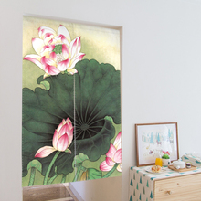 33'' * 55'' Chinese Style Doorway Curtain Canvas Room Door Privacy Noren Curtain Tapestry Home Decoration with Tension Rod(China)