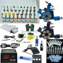 2 coil cast iron fight fog professional tattoo kit 40 color ink LCD black power supply bullet tatto machine set body art makeup