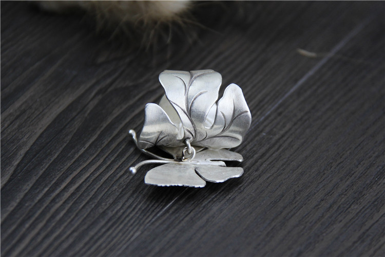 High Detail on 999 Sterling Silver Large Butterfly Ring