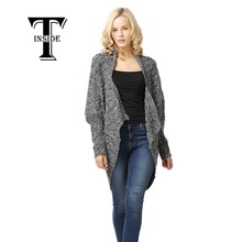 T-Inside 2016 Fashion Women Thick Sweater Casual Knitted Cardigan Long Batwing Sleeve Coat Jacket Outwear Tops Cardigan Female