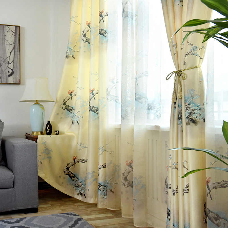 Chinese-style Bird Printing Cotton Linen Curtains for Bedroom Living Room Window Tulle Kitchen Finished Specials New Products